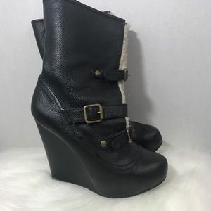 Betsey Johnson leather wedge boots